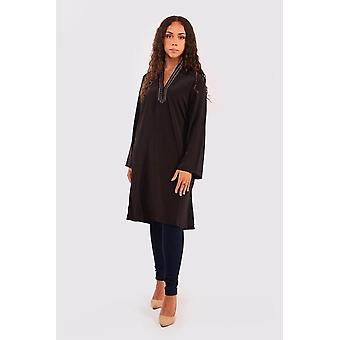 Chourouk tunic-style longline long sleeve top with belt in black