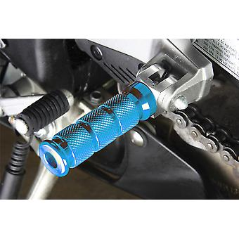 BikeTek Alloy Round Sports Footpegs Honda Pillion Blue