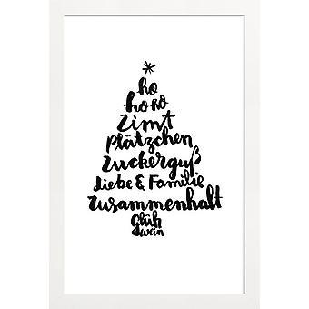 Stampa JUNIQE - Abete - Poster di Natale in bianco e nero