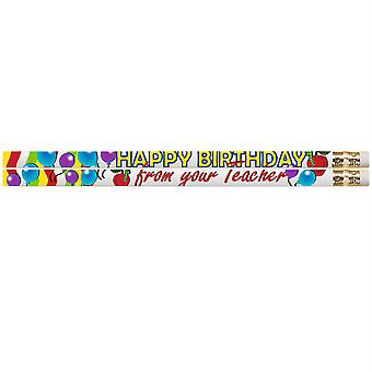 Happy Birthday From Your Teacher Motivational Pencil, Pack Of 12