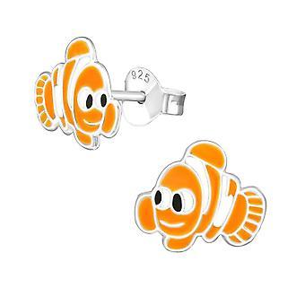 Children's Sterling Silver Clownfish Stud Earrings