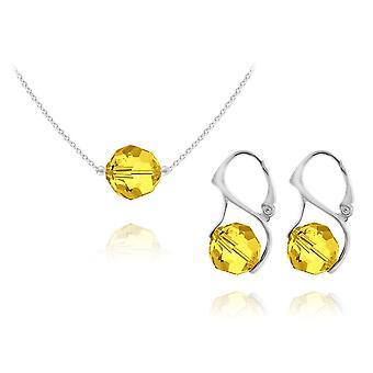 Light topaz silver jewellery set