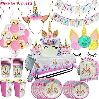 Rainbow Unicorn Birthday Supplies Set