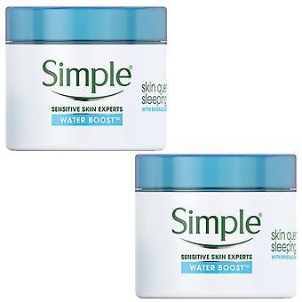 2 Pk de 50ml Simple Expert Water Boost Skin Quench Sleeping Cream with Minerals