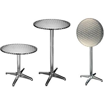 Hi Foliding Bistro-bar Tavolo Alluminio Rotondo 60x60x(58-115) Cm