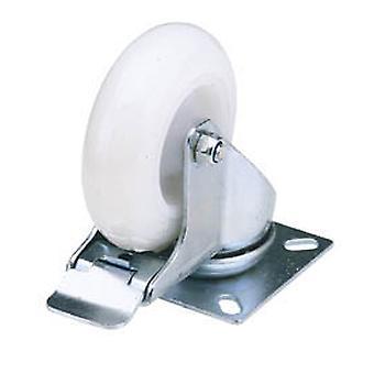 Draper 65499 75mm Dia. Swivel Plate Fixing Nylon Wheel with Brake S.W.L. 70Kg