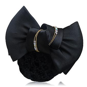 Women Bowknot Net Bun Snood Mesh Hairpin Office Work Hairpiece Hair Flower Hair Clip