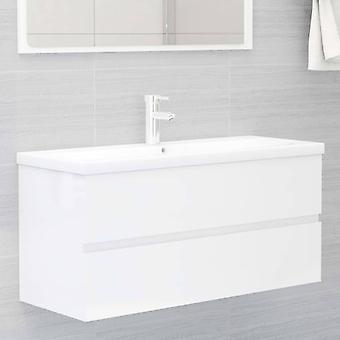 vidaXL Waschbeckenunterschrank Hochglanz-Weiß 100x38,5x45cm Spanplatte