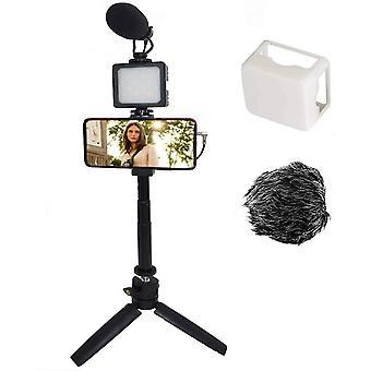 HanFei Smartphone Vlog Kit Kamera Vlogging Stativ Desktop Smartphone Video Kit w Mikrofon LED Licht