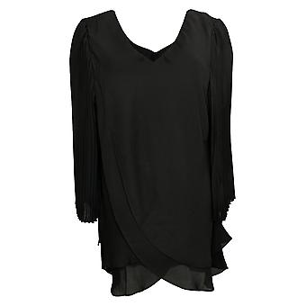Laurie Felt Woven Top Reversible Pleated Sleeve Blouse Black A379346