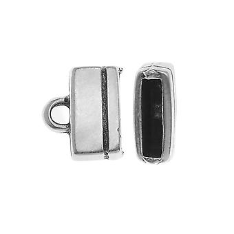 Antiqued Silver Rectangle Cord Ends For Regaliz 10mm Flat Cork Cord - 2 Pack