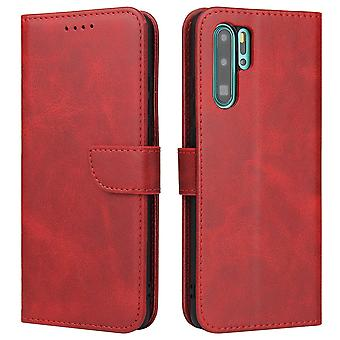 Flip folio leather case for huawei p40 red pns-1325