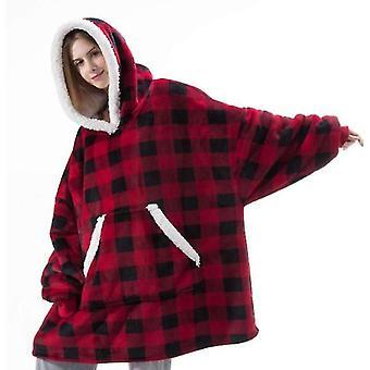 赤いチェック柄の女性の厚いパジャマウェアラブルラムベルベット怠惰な毛布ホームカジュアルなぬいぐるみセーター(フードx3800付き)