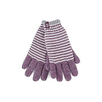 Womens striped fleece lined thermal gloves