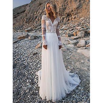Vestidos de Noiva de Praia, Vestidos de Noiva Longa de Decote V