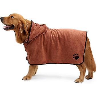 Xs braun Haustier Badetuch Mikrofaser trocknen Robe feuchtigkeitsabsorbierende Mantel für Hund dt6926