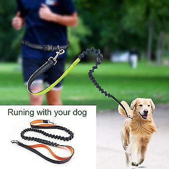 Hordozható rugalmas futó kutya póráz állítható derék fényvisszaverő fonal