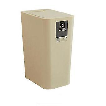 12 Liter Sortiermülleimer, rechteckiger Plastik-Hausmülleimer mit Deckel (Beige)