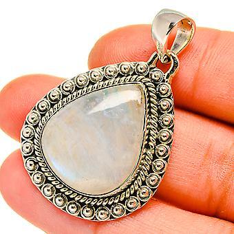 Pendentif en pierre de lune arc-en-ciel 1 5/8» (925 Sterling Silver) - Bijoux Boho Vintage faits à la main PD5251