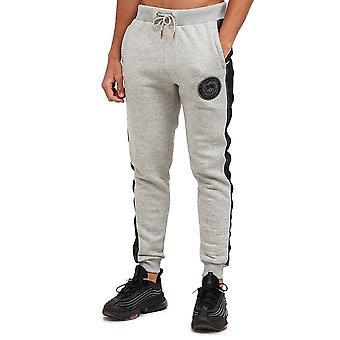 Glorious Gangsta   Ellio 3656 Fleece Contrast Tape Logo Jogger - Grey Marl/asphalt