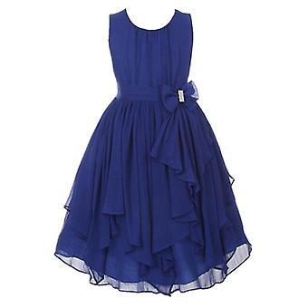Girls Princess Flower Party Formal Dress Dark Blue 6-7Years