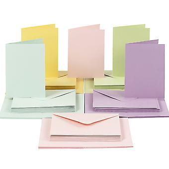 50 pastelli A6-kortit ja kirje kuoret kortti valmistukseen | Kortin valmistus aihiot