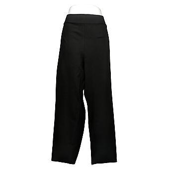 LOGO by Lori Goldstein Women's Plus Pants Supreme Ponte Slim Black A366386