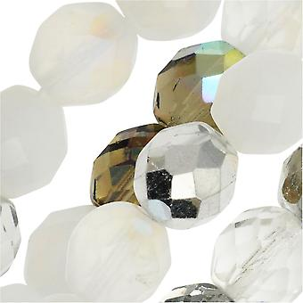 Czech Fire Polished Glass Beads, Faceted Round 10mm, 50 Pieces, Apparition Mix