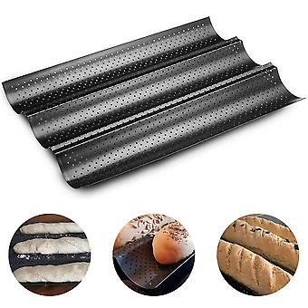 Nonstick Perforated Baguette Pan For French Bread Baking Wave Loaves