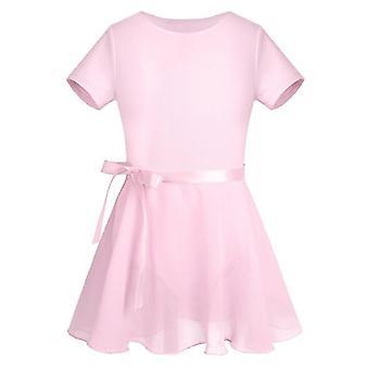 Kids Cotton Sleeve Ballet Dress Chiffon Ballet Skirt Gymnastics Leotard Set