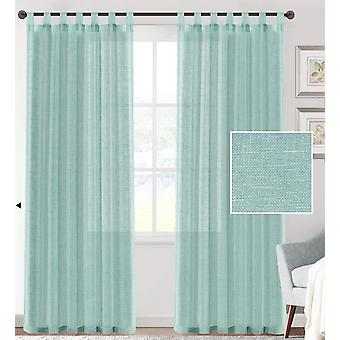 2X linen blended sheer curtains textured woven linen sheers curtain drapes for living room/bedroom light filtering tab top casual draperies - sea mist