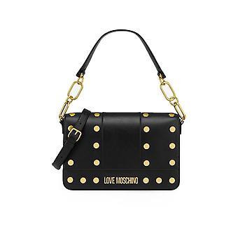 Love Moschino Zwarte Schoulder Tas Met Gouden Studs