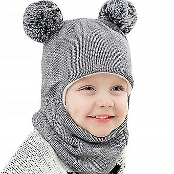 Baby Hat, Bib, One-piece Knitted Hat With Velvet And Thick Earmuffs (gray)