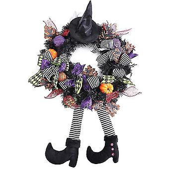 Caraele Halloween Witch Wreath Front Door Decoration Hanging Party Ornaments With Pumpkin Legs