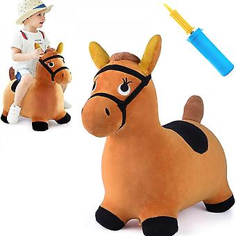 18-24 Months Old, 2-3 Years Old, Plush Brown Vaulting Horse Inflatable Hopper Toy For Boys And Girls