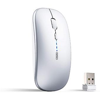 Wireless Mouse Rechargeable,[upgraded],ultra Slim 2.4g Mute Mouse 1600 Dpi Usb Receiver Silver