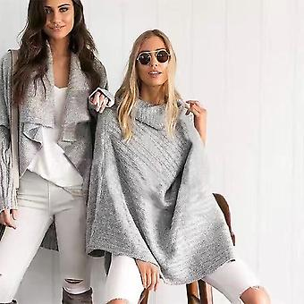 Women Autumn Winter Knitted Sweater Irregular Turtleneck Cloak Shawl Sweater