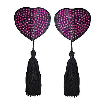 Pink Diamante Heart Nipple Tassels - Heart Shape