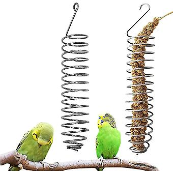 Fruit Feeders, 2 Pieces Spiral Bird Feeder Cage Feeding Accessories Fruit Feeder Vegetables Parrot Bird Basket Food For Birds Or Small Animals To Chew