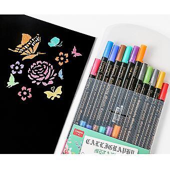 Bimetaal kleur verf pen mes tip verf pen diy fotoalbum foto hand account marker 12 kleuren