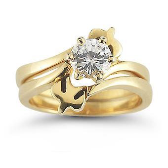 Heiligen Geist Taube Diamant Braut Verlobungsring Set, 14K Gelbgold