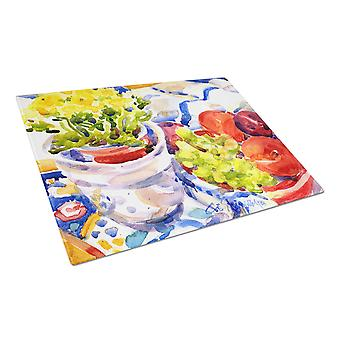 Apples, Plums and Grapes with Flowers  Glass Cutting Board Large