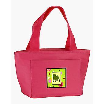 Carolines Schätze CK1053PK-8808 lindgrün Punkte Mops-Lunch-Bag