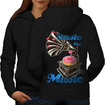 Taste Funny Donut Music Women BlackHoodie Back | Wellcoda