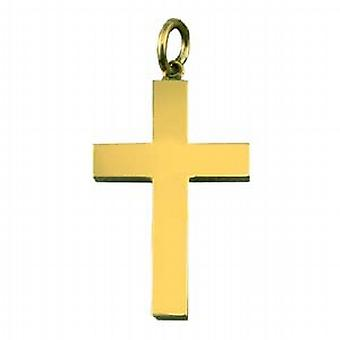 9ct Gold-30x20mm Klar festen Block Kreuz