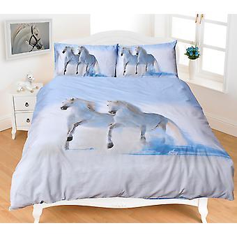 Animal Print hästar 3D effekt påslakan multi Grey sängkläder set örngott