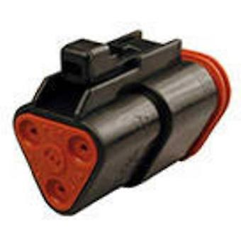 TE Connectivity DT06-3S-CE02 Bullet connector Socket, straight Series (connectors): DT Total number of pins: 3 1 pc(s)