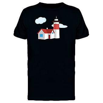 Lighthouse With House Doodle Tee Men's -Image by Shutterstock