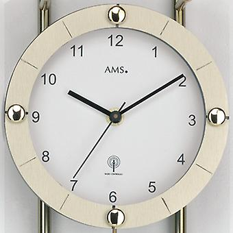 Wall clock with pendulum radio mineral glass, brass painted metal rods