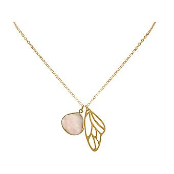 Ladies - necklace - pendant - butterfly - wings - WINGS - 925 Silver - gold plated-- DRUZY - Rose Quartz - 80 cm